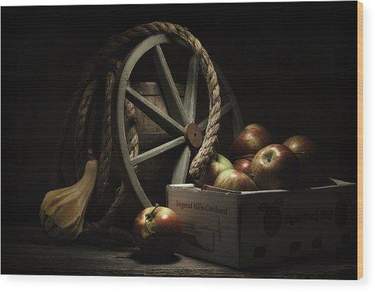 Apple Basket Still Life Wood Print