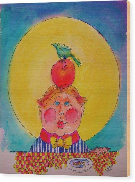 Apple Cheeks Wood Print by Lou Cicardo