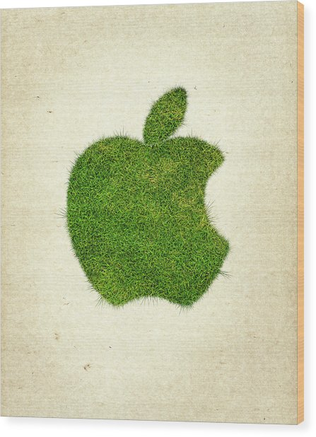 Apple Grass Logo Wood Print