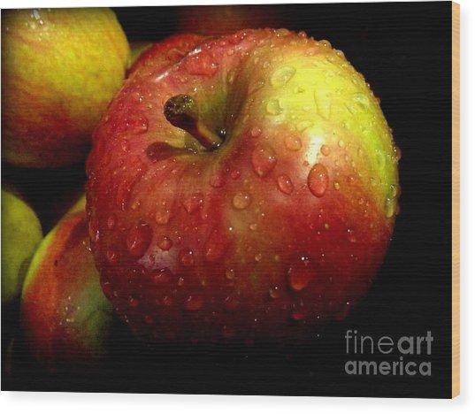 Apple In The Rain Wood Print
