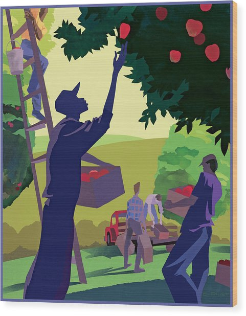 Apple Pickers Wood Print