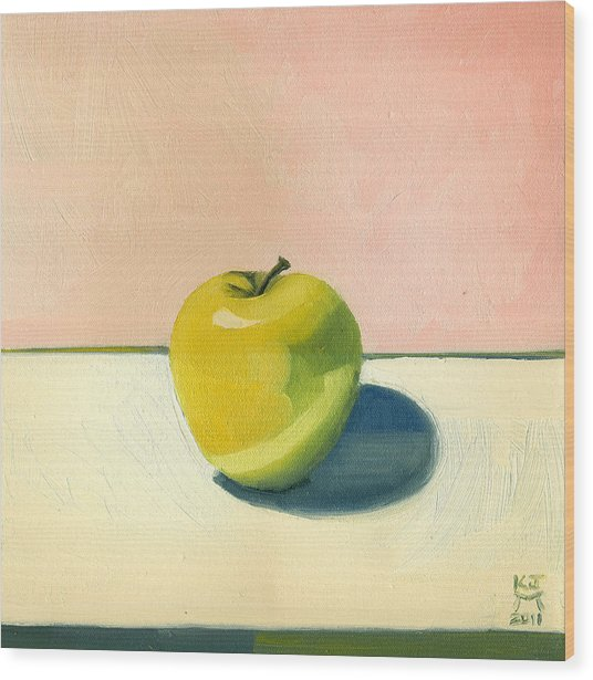 Apple - Pink And White Wood Print