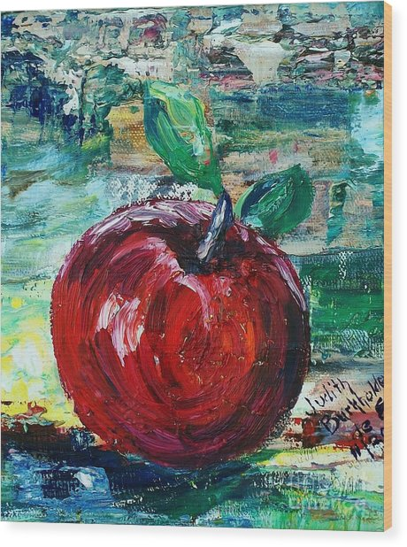 Apple - Sold Wood Print by Judith Espinoza