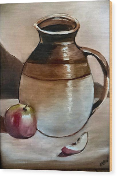 Apple With Ceramic Jug. Wood Print