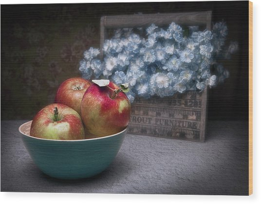 Apples And Flower Basket Still Life Wood Print