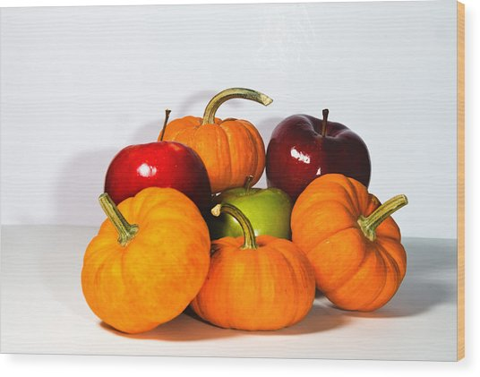 Apples And Pumpkins2 Wood Print