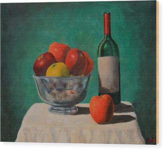 Apples And Wine Wood Print