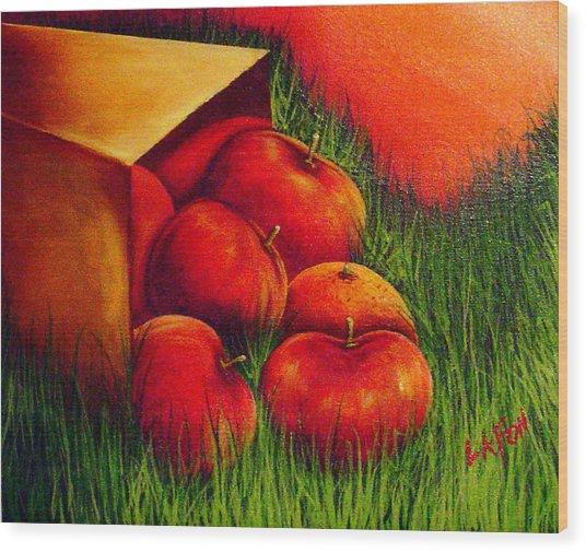 Apples At Sunset Wood Print
