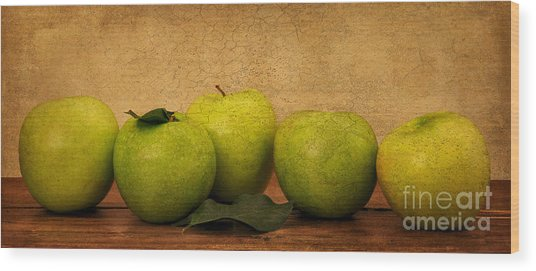Apples Still Life Wood Print by Malu Couttolenc