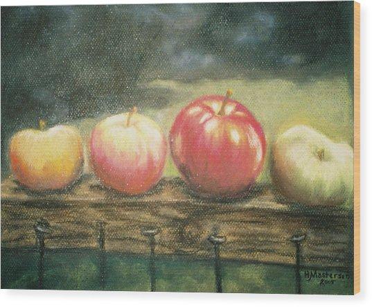 Apples On A Rail Wood Print