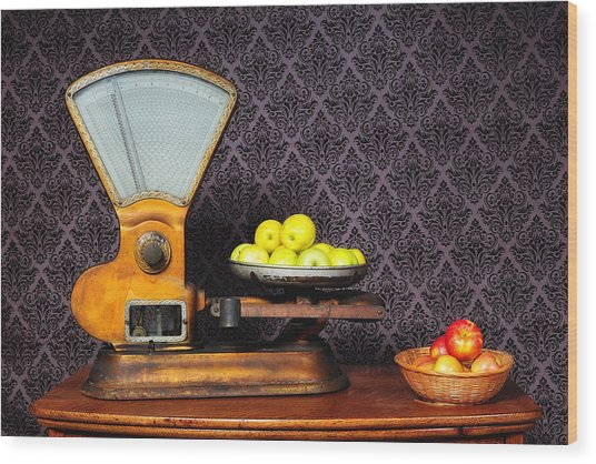 Apples On The Scale Wood Print