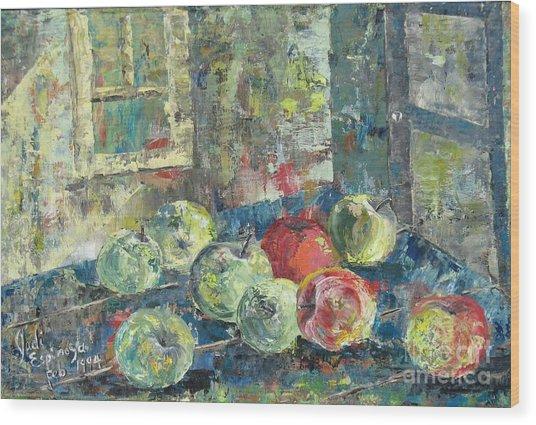 Apples - Sold Wood Print by Judith Espinoza