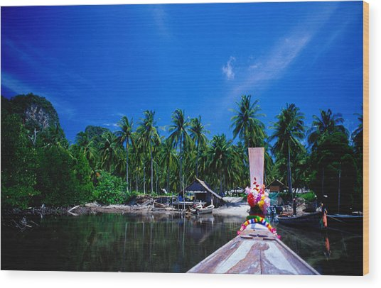 Approaching Ao Bakao By Longboat On The Wood Print by Karen Trist