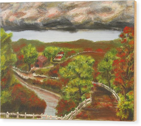 Approaching Storm Wood Print by Michael Anthony Edwards
