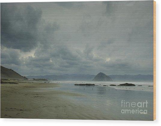 Approaching Storm - Morro Rock Wood Print