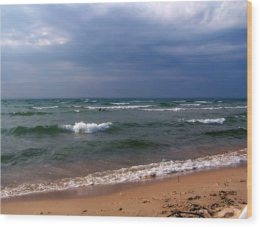 Approaching Storm Over Lake Michigan Wood Print