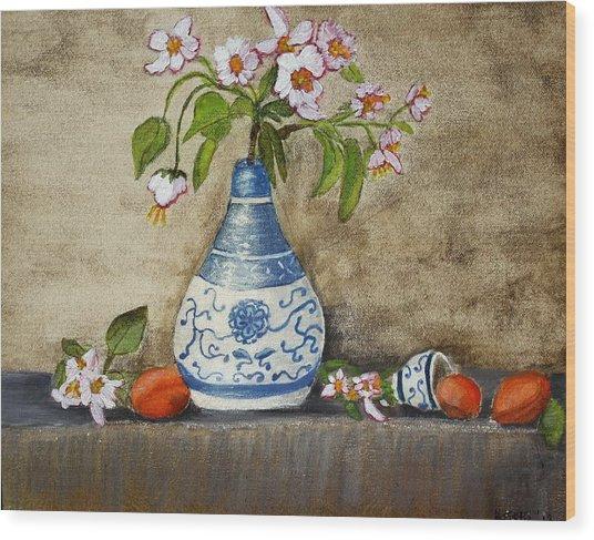 Apricot Still Life Ll Wood Print by Kristie Zweig Christensen