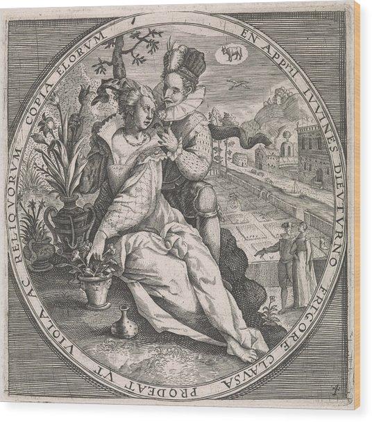 April Loving Couple, Anonymous, Crispijn Van De Passe Wood Print