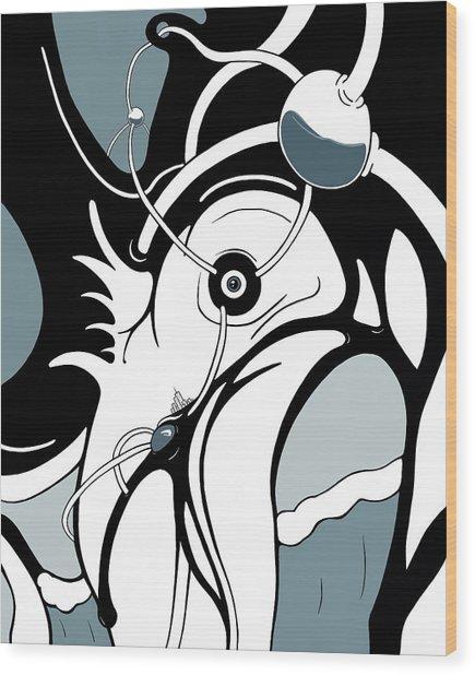Aqua Grid Wood Print