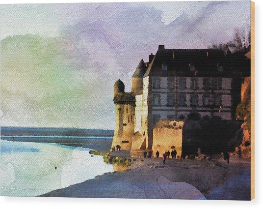 Aqua Real Mount St Michael Wood Print