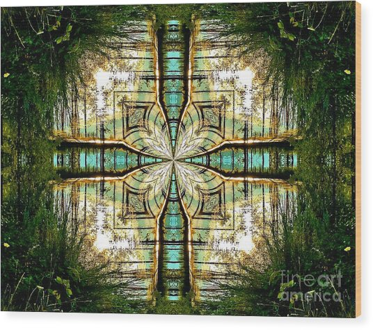 Kaleidoscope Aqua Sunrise Wood Print