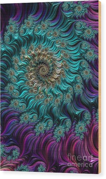 Aqua Swirl Wood Print