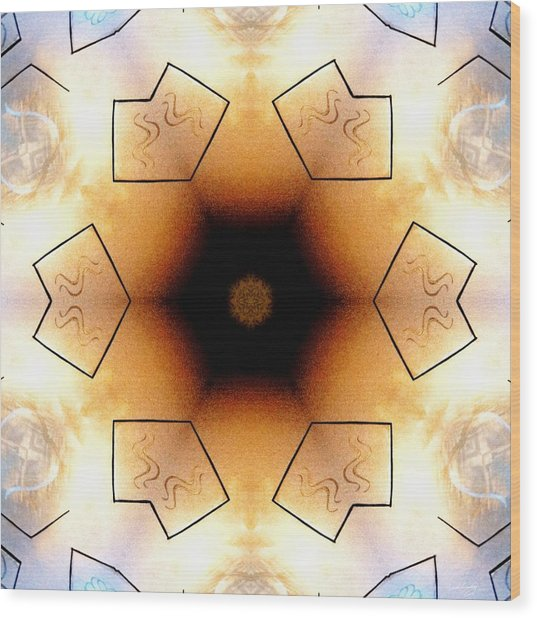 Wood Print featuring the digital art Aquarian Stardrum by Derek Gedney