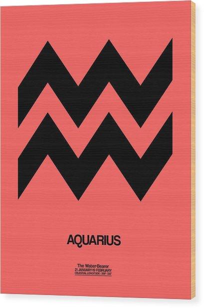 Aquarius Zodiac Sign Black Wood Print