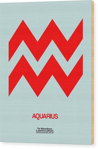 Aquarius Zodiac Sign Red Wood Print