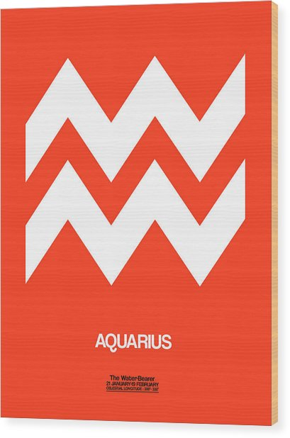 Aquarius Zodiac Sign White On Orange Wood Print