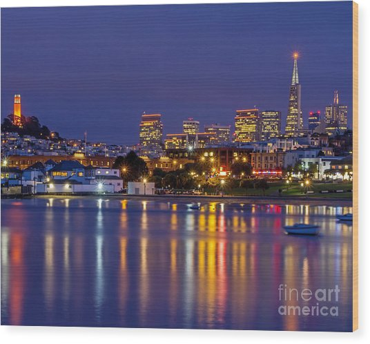 Aquatic Park Blue Hour Wood Print