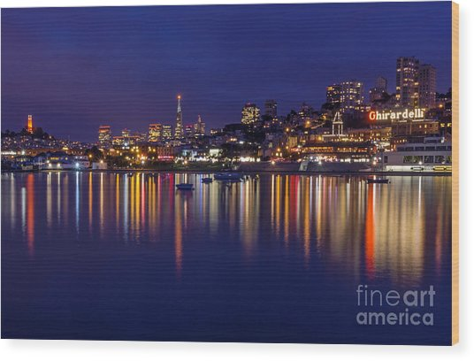 Aquatic Park Blue Hour Wide View Wood Print