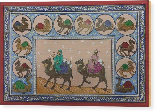Arab Men In Desert Wood Print