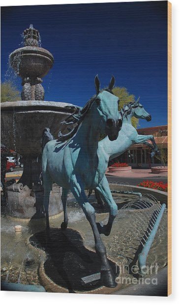 Arabian Horse Sculpture Wood Print