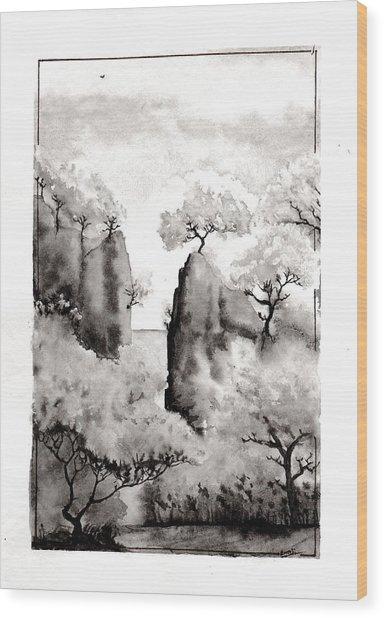 Arbres Separes Wood Print