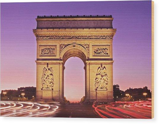 Wood Print featuring the photograph Arc De Triomphe Facade / Paris by Barry O Carroll
