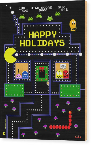 Arcade Holiday Wood Print