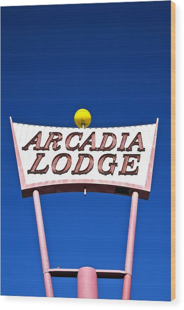 Wood Print featuring the photograph Arcadia Lodge by Gigi Ebert
