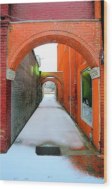 Arch And Corridor Wood Print