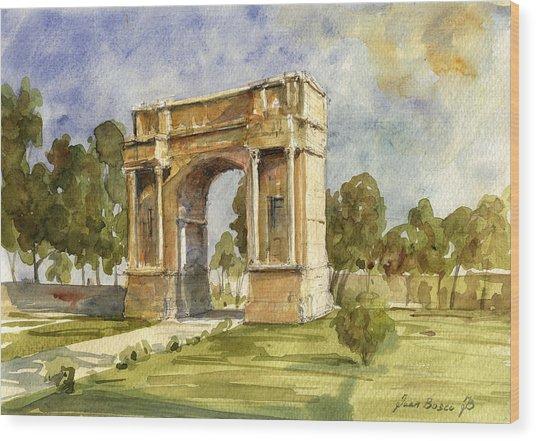 Arch Triumphal Of Antonius Pius At Tunisia Wood Print