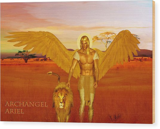 Wood Print featuring the painting Archangel Ariel by Valerie Anne Kelly