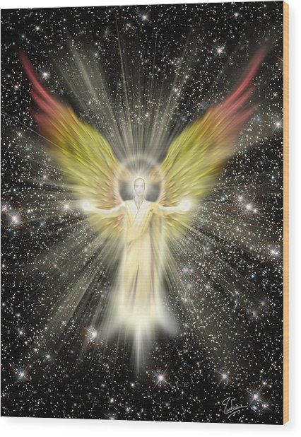 Wood Print featuring the digital art Archangel Gabriel by Endre Balogh