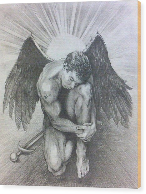 Archangel Michael Wood Print by Karina Griffiths