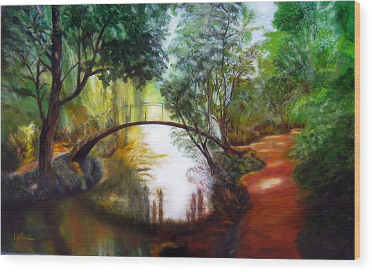 Arched Bridge Over Brilliant Waters Wood Print