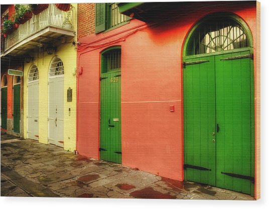 Arched Doors Of Pirates Alley Wood Print