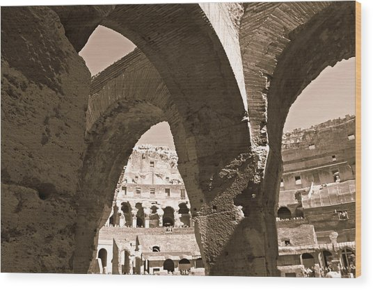 Arches In The Colosseum Wood Print