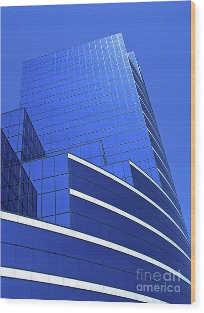 Architectural Blues Wood Print