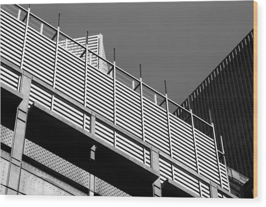 Architectural Lines Black White Wood Print