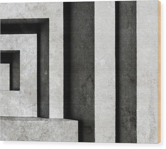 Architectural Signs II Wood Print by Luc Stalmans