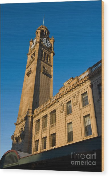 Architecture Of The Past - A Tall Station Clock Tower Wood Print